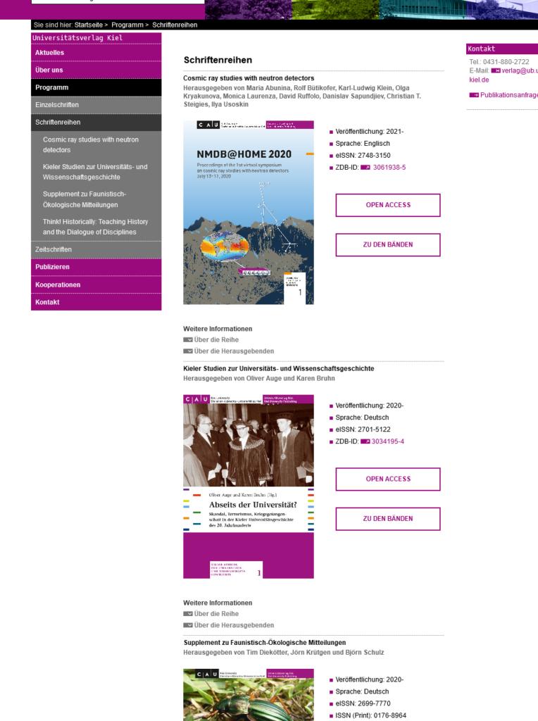 Screenshot der Unterseite Schriftenreihen der Website des Universitätsverlags Kiel